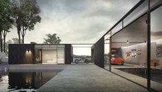 Modern Backyard, Cafe Racer, Outdoor Living, Outdoor Decor, Pool Houses, Man Cave, Modern Design, Garage Doors, Garden