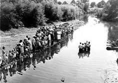 "marion Post Wolcott's ""Baptism of Members of Primitive Baptist Church in Triplett Creek, Roiwan County, Near Morehead, Kentucky"" 1940"