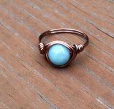Larimar Quartz Copper Ring Light Blue Ring by PazHappyCreations- love
