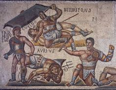 Gladiators combat from mosaic of the Gladiator, 320 A.C. from Terranova, Rome. Galleria Borghese, Rome