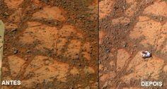 Cientistas resolvem o mistério da estranha rocha que apareceu do nada numa foto do Planeta Vermelho tirada pelo rover Oppurtunity, da NASA.