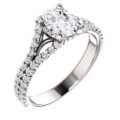 JULIANA style 122094 Accented Split Shank Cathedral-Style Engagement Ring #everandeverbridal