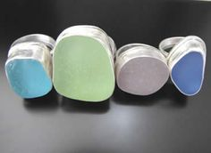 Sea Beach Glass Rings - Real Seaglass Jewelry in Rare Colors, In Sterling Silver, Blue, Red, Green, Marbles and More