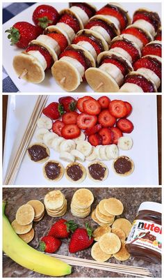 Mini Pancake Kebabs with Nutella 19 Glorious Ways To Eat Nutella For Breakfast Mini Pancake Kebabs with Nutella (just do mini pancake, banana slice, strawberry slice, on a toothpick? Mini Pancake Kebabs met Nutella - Food & Drink The Most Delicious Desser Breakfast Recipes, Snack Recipes, Dessert Recipes, Cooking Recipes, Food Recipes For Kids, Breakfast Ideas For Kids, Lunch Ideas Kids At Home, Easy Recipes, Dinner Ideas