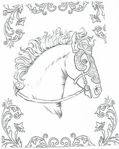 Unicorn Horse Adult Coloring Pages Books Colouring Paintings Paper Models Dremel Carousel Stained Glass Patterns Print