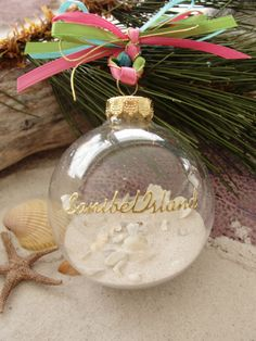 SANIBEL ISLAND Ornament FAVORS, Beach Wedding, Destination Wedding, Seaside Christmas, Tropical, Coastal, Nautical, Luau, Beach Party