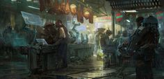 Busy sci-fi market scene by Yujin Choo [OS] [1920  931].