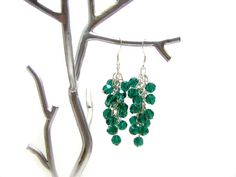 Emerald Green Swarovski Crystal Cluster Earrings by CYDesignStudio