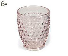 Set de 6 vasos de agua en vidrio GILDA - rosa