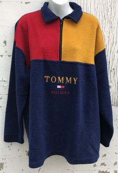 308adef67884a Vintage Tommy Hilfiger Men s Fleece Pullover Sweater Zip Flag Size Large 90s