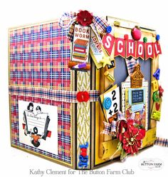 Back to School Folio with Authentique Scholastic by Kathy Clement – Button Farm Club First Day Of School, Back To School, Wooden Ruler, Star Students, School Themes, Scrapbook Albums, Red Flowers, Paper Crafts, Paper Art