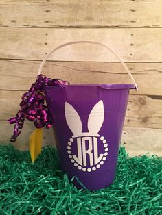 Monogrammed Easter pail! On my etsy page  Www.etsy.com/mjmonogramsandmore/