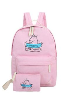 Pink Unicorn Backpack With Wallet #10-30 #backpacks #meta-filter-color-pink #newacc