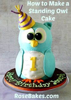 How to Make a Standing Owl Cake Picture Tutorial #cake #owl #tutorial
