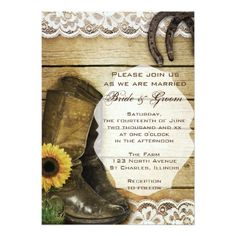 Country Sunflower Wedding Boots And Horseshoes Card Invitations