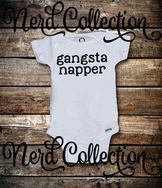 Baby Onesie Gangsta Napper Gangster Rapper Music by NerdCollection
