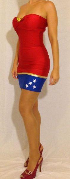 Wonder Woman Strapless Mini Dress .. needs better match of shoes but really like the dress