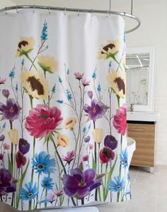 Splash Home Large Scale Floral Prisma Shower Curtain BedBathHomeCom Vinyl Curtains