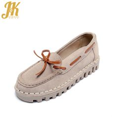 J&K 2017 Brand Cow Genuine Leather Women's Vulcanize Shoes Cozy Pigskin Lining Pregnant Woman Shoes Thick Sole Flat Casual Shoes