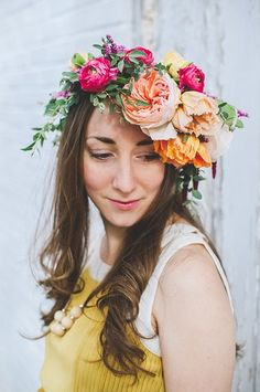 20 Floral Bridal Crowns & Flower Wreaths {Trendy Tuesday} | Confetti Daydreams - Colourful floral bridal crown ♥  ♥  ♥ LIKE US ON FB: www.facebook.com/confettidaydreams  ♥  ♥  ♥ #Wedding #FlowerCrowns #FlowerWreaths