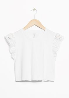 & Other Stories image 2 of Perforated Sleeve Crop Top in White