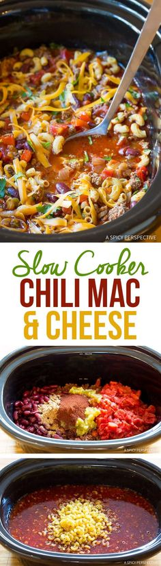 Crockpot Chili Mac and Cheese Recipe - A cozy slow cooker meal that can be prepped in minutes. This easy Chili Mac and Cheese Soup is rich and zesty. #aspicyperspective #foodblog #foodie #instayum #hungry #thekitchn #onmytable #dailyfoodfeed #foodlove #foodpic #instafood #foodstagram #tasty #chilimacandcheese #chilimac #macandcheese #macaroni #chili #crockpot #slowcooker #homecooking #comfortfood #dinner Slow Cooker Chili, Crock Pot Slow Cooker, Crock Pot Cooking, Slow Cooker Recipes, Crockpot Recipes, Cooking Recipes, Crockpot Dishes, Hamburger Recipes, Healthy Recipes