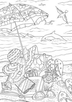 coloring pages - Summer Day Printable Adult Coloring Page from Favoreads (Coloring book pages for adults and kids, Coloring sheets, Coloring designs) Beach Coloring Pages, Printable Adult Coloring Pages, Free Coloring Pages, Coloring Books, Kids Coloring, Summer Coloring Sheets, Fairy Coloring, Coloring Pages To Print, Mandala Coloring