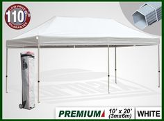Eurmax Premium Ez Pop up Canopy with Wheeled Bag(20x10feet,white) by eurmax. $499.95. frame package:11.8'' x 19.7'' x 64.2'' weight 100.5 LBS. This 10' x 20' instant shelter canopy with adjustable legs sets up in seconds. It is ideal for commercial or recreational use (small business, craft shows, tailgate parties, picnics, camping, outdoor sporting events). The commercial grade DuraLast top provides 99% UV protection and is water resistant. The commercial grade Aluma-Ste...