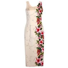 paradise cream hawaiian long dress