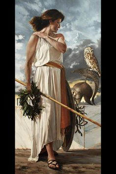 Athena. Contrary to popular belief, she was first and foremost the goddess of wisdom and she actually hated war.