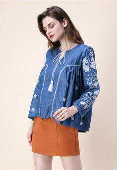 Bloom on Chambray Embroidered Dolly Top