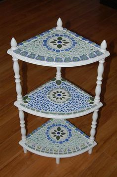 3-Tier Pique Assiette Mosaic Table - by Donna Coogan from Mosaics Art Gallery