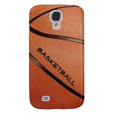 This Samsung Galaxy S4 case features a close up image of a basketball with text which can be customized for the basketball player or basketball fan.