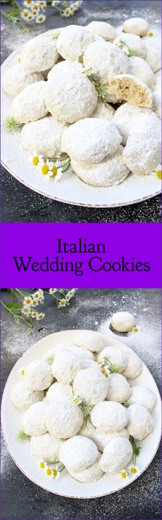 Wedding Food - Easy and quick, this is the best Italian wedding cookies recipe. Loaded with walnuts Cookie Desserts, Just Desserts, Cookie Recipes, Delicious Desserts, Cookie Bakery, Italian Pastries, Italian Desserts, Italian Recipes, Italian Wedding Cookies