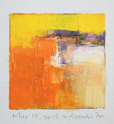 15. Mai 2015 - Original Abstract Oil Painting - 9 x 9-Malerei (9 x 9 cm - ca. 4 x 4 Zoll) mit 8 x 10 Zoll mat