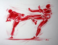 karate-n-1-dessin-calligraphique-d-ibara.jpg - Peinture ©2015 par IBARA -                                                                        Expressionnisme, Papier, Calligraphie, Sports, les hommes rouges, ibara, art et karaté, peinture, calligraphie, adagp
