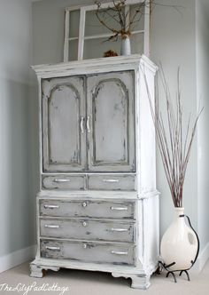 Grey and White Distressed Chalk Paint...love.