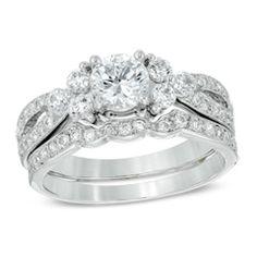 tw diamond split shank bridal set in 14k white - Diamond Wedding Ring Sets For Her