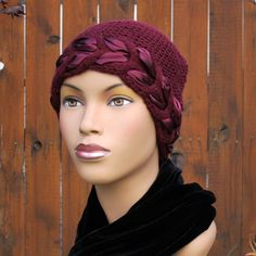 Holiday Ribbon Beanie A great gift for cancer patients. Soft acrylic yarn and a festive satin ribbon. Very comfortable.