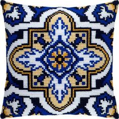 "Needlepoint Cross Stitch Pillow Cover DIY Kit ""Turkish arabesque"" in Crafts, Needlecrafts & Yarn, Embroidery & Cross Stitch, Hand Embroidery Kits, Needlepoint Kits Cushion Embroidery, Towel Embroidery, Hand Embroidery Stitches, Cross Stitch Embroidery, Cross Stitch Borders, Cross Stitching, Turkish Pattern, Cross Stitch Cushion, Cross Stitch Stocking"
