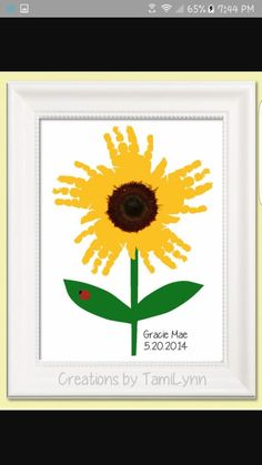 Sunflower handprint Grandma would love this.