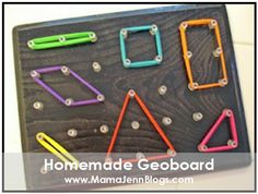 Homemade Geo Board- Fine Motor Activity, for lil minds😍 Motor Activities, Preschool Activities, Geo Board, Homeschool Math, Homeschooling, Fine Motor, Kids Learning, Learning Shapes, Learning Spanish