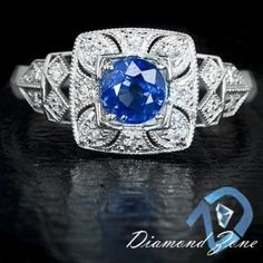 NATURAL ROYAL BLUE SAPPHIRE ART DECO DIAMOND ENGAGEMENT COCKTAIL VINTAGE RING #SolitairewithAccents