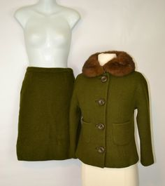 1950s Dark Green 2 Piece Suit - Jacket and Skirt by ailored by Braetan Juniors, The Stern E Mann Co