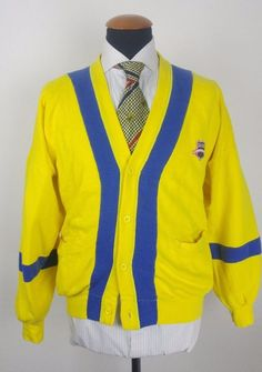 a80ca76a89 Vintage Hugo Boss College Cardigan Sweater size XL Extra Large Cotton  Yellow in Clothes
