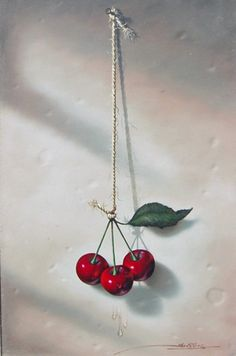 "Original Painting ""Cherries"" by Javier Mulio, oil."