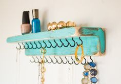Diy Jewelry Holder, Hanging Jewelry Organizer, Jewelry Hanger, Diy Necklace Organizer, Homemade Jewelry Holder, Diy Necklace Holder, Necklace Hanger, Ring Holders, Wall Mounted Necklace Holder