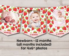 Strawberry First birthday banner Monthly Photo Banner Strawberry Monthly Banner Berry Sweet Birthday Decor Girl PRINTABLE Digital 0091 First Birthday Theme Girl, First Birthday Banners, First Birthday Parties, First Birthdays, Girl Parties, Birthday Tutu, Birthday Board, Birthday Nails, Summer Party Decorations