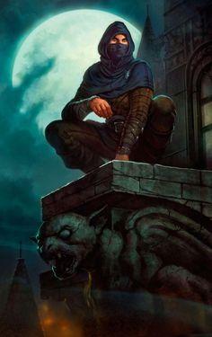 m Rogue Thief Leather Armor Cloak Roof top Night full moon urban City Gargoyle Fantasy Dimentions lg Fantasy Male, High Fantasy, Fantasy Rpg, Medieval Fantasy, Fantasy Artwork, Fantasy World, Fantasy Fiction, Fan Fiction, Fiction Books