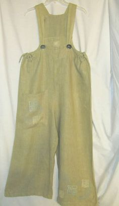 Sz 0 Sz 2 to 10 Blue Fish Barclay Square Cut Pant Overalls Signed Hemp Lagenlook